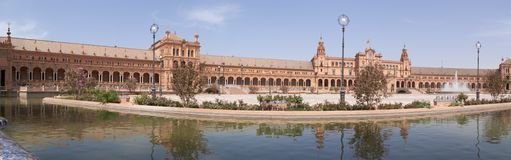 Panoramic view of Plaza de Espana in Seville Stock Image