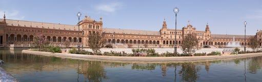 Panoramic view of Plaza de Espana in Seville Stock Image