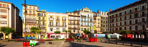 Panoramic view of Plaza del Castillo  in Pamplona Royalty Free Stock Photography