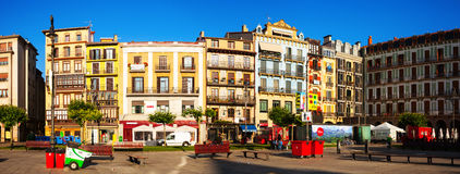 Panoramic view of Plaza del Castillo  in Pamplona Stock Photography