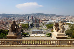 Panoramic view of Plaza Espanya, Barcelona, Spain. Panoramic view of Plaza Espanya from the stairs landing in front of the Royal Palace, Barcelona, Spain Stock Image
