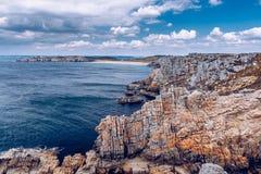 Panoramic view of Pointe de Pen Hir from Anse de Dinan in Britta Royalty Free Stock Photos