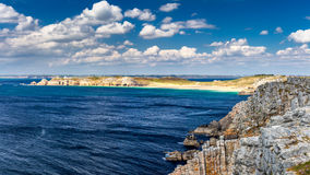 Panoramic view of Pointe de Pen Hir from Anse de Dinan in Britta Royalty Free Stock Image