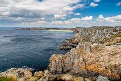 Panoramic view of Pointe de Pen Hir from Anse de Dinan in Britta Stock Photos
