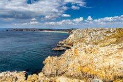 Panoramic view of Pointe de Pen Hir from Anse de Dinan in Britta Stock Photography