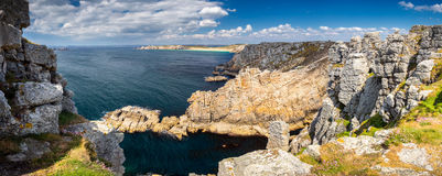Panoramic view of Pointe de Pen Hir from Anse de Dinan in Britta Stock Images