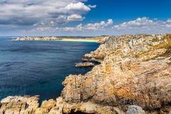 Panoramic view of Pointe de Pen Hir from Anse de Dinan in Britta Stock Photo