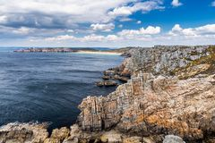 Panoramic view of Pointe de Pen Hir from Anse de Dinan in Brittany (Bretagne), France royalty free stock photos