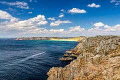 Panoramic view of Pointe de Pen Hir from Anse de Dinan in Brittany (Bretagne), France stock photo