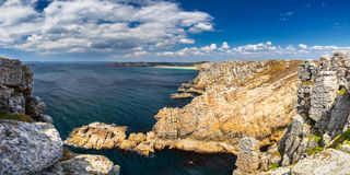 Panoramic view of Pointe de Pen Hir from Anse de Dinan in Brittany Bretagne, France.  stock photo