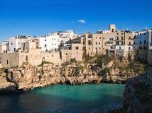 Panoramic view of Polignano. Apulia. Stock Image