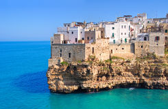 Panoramic view of Polignano. Puglia. Italy. Royalty Free Stock Photography