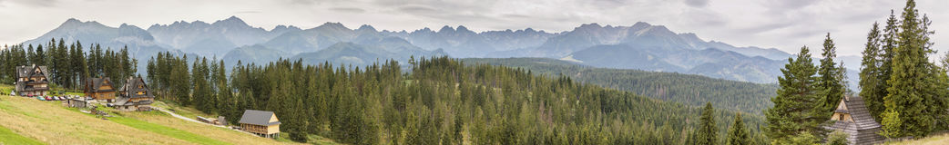 Panoramic view on Polish Tatra Mountains from Szymkowka. Stock Photography