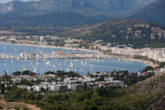 The panoramic view of Pollenca Port. Royalty Free Stock Photo