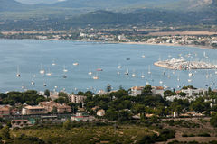 The panoramic view of Pollenca Port. Stock Photo