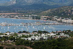 The panoramic view of Pollenca Port. Stock Image
