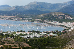 The panoramic view of Pollenca Port. Royalty Free Stock Photos