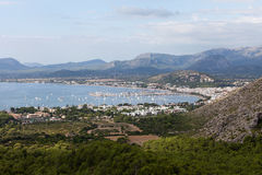 The panoramic view of Pollenca Port. Stock Photos