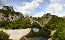 Panoramic view of pont d'arc Stock Images