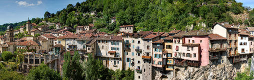 Panoramic view of Pont-en-Royans - Isere - France Stock Photos