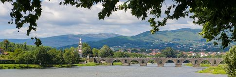 Panoramic View on Ponte de Lima, Portugal royalty free stock images
