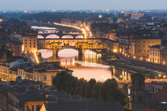 Panoramic view of Ponte Vecchio in Florence at dusk Royalty Free Stock Image