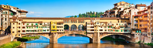 Panoramic view of Ponte Vecchio in Florence, Italy Royalty Free Stock Photography