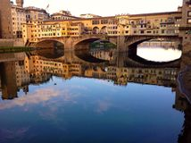 Panoramic view of Ponte Vecchio, Florence. Panoramic view of Ponte Vecchio in Florence, Italy Stock Photo