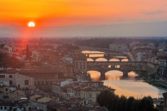 Panoramic view of Ponte vecchio - Florence Stock Photos