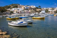 Panoramic view of Ponza harbor with boats on summer day stock images