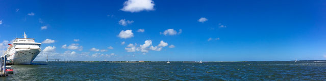 Panoramic view of the Port of Charleston, SC. Stock Photo