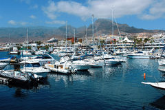 Panoramic view of the port Colon in Tenerife, Spain. Port Colon. The largest marine entertainment center in Tenerife Stock Photos
