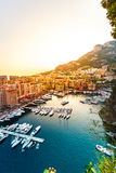 Panoramic view of Port de Fontvieille in Monaco. Azur coast. Royalty Free Stock Photo