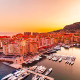 Panoramic view of Port de Fontvieille in Monaco. Azur coast. Royalty Free Stock Images