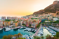 Panoramic view of Port de Fontvieille in Monaco. Azur coast. Stock Images