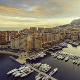 Panoramic view of Port de Fontvieille in Monaco. Azur coast. Stock Photography