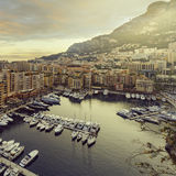 Panoramic view of Port de Fontvieille in Monaco. Azur coast. Royalty Free Stock Photography