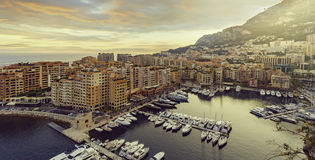 Panoramic view of Port de Fontvieille in Monaco. Azur coast. Royalty Free Stock Photos