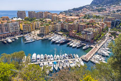 Panoramic view of Port de Fontvieille, Principality of Monaco Stock Photos