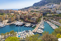 Panoramic view of Port de Fontvieille, Principality of Monaco Royalty Free Stock Photo