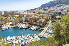 Panoramic view of Port de Fontvieille, Principality of Monaco. Panoramic view of Port de Fontvieille in Principality of Monaco. French Riviera. Colorful bay with Royalty Free Stock Photography