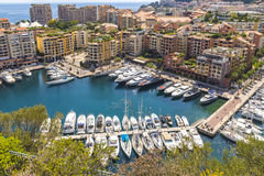 Panoramic view of Port de Fontvieille, Principality of Monaco Royalty Free Stock Images