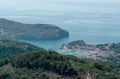 Panoramic view on Port de Soller. Port de Soller, Majorca, Spain. Panoramic bird eye view Stock Images