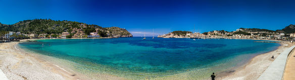 Panoramic view of Port De Soller. A typical mediterranean port with a beach in Mallorca island, Spain Stock Photo