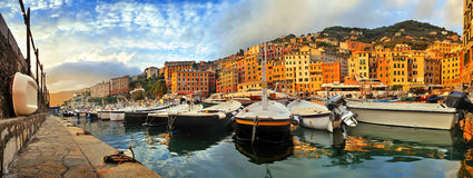 Panoramic view of the port in the evening Camogli, Liguria, Ital Stock Photo