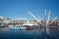 Panoramic view of the port of Genoa, Italy Stock Photo