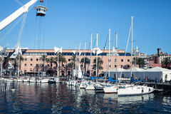 Panoramic view of the port of Genoa, Italy Stock Image