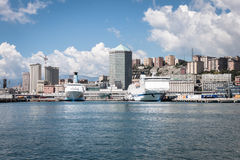 Panoramic view of the port of Genoa, Italy Royalty Free Stock Image