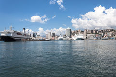 Panoramic view of the port of Genoa, Italy Royalty Free Stock Images