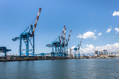 Panoramic view of the port of Genoa, Italy Royalty Free Stock Photos